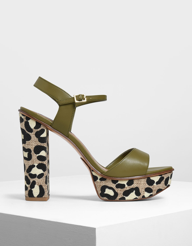 block heel animal print shoes