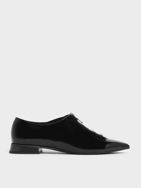 Wrinkled Patent Frayed Zip Front Loafers, Black, hi-res