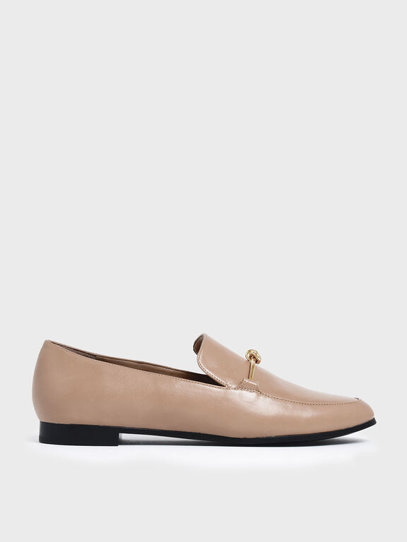 Metallic Knot Accent Loafers, Nude