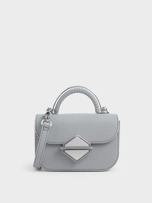 Metallic Accent Mini Top Handle Bag, Grey, hi-res