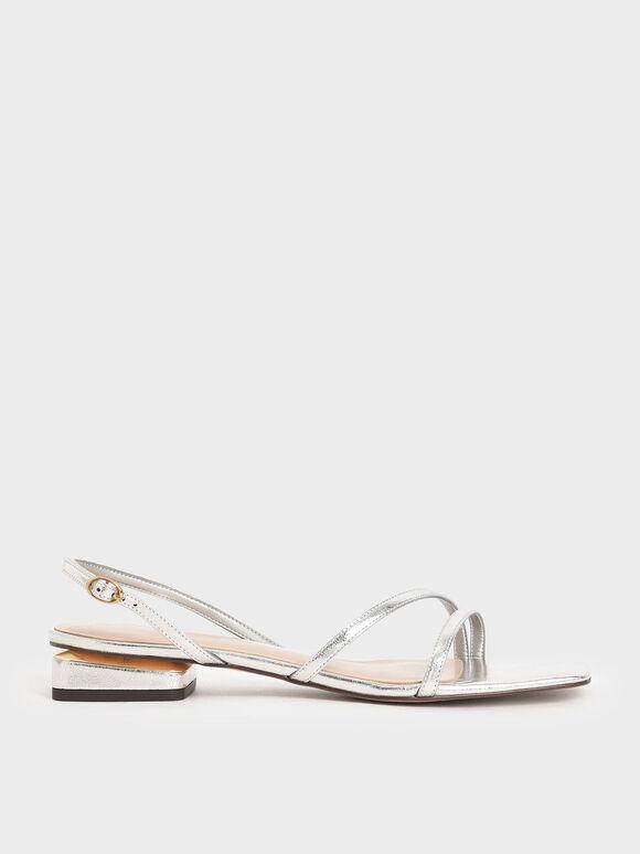 線條方頭涼鞋, 銀色, hi-res