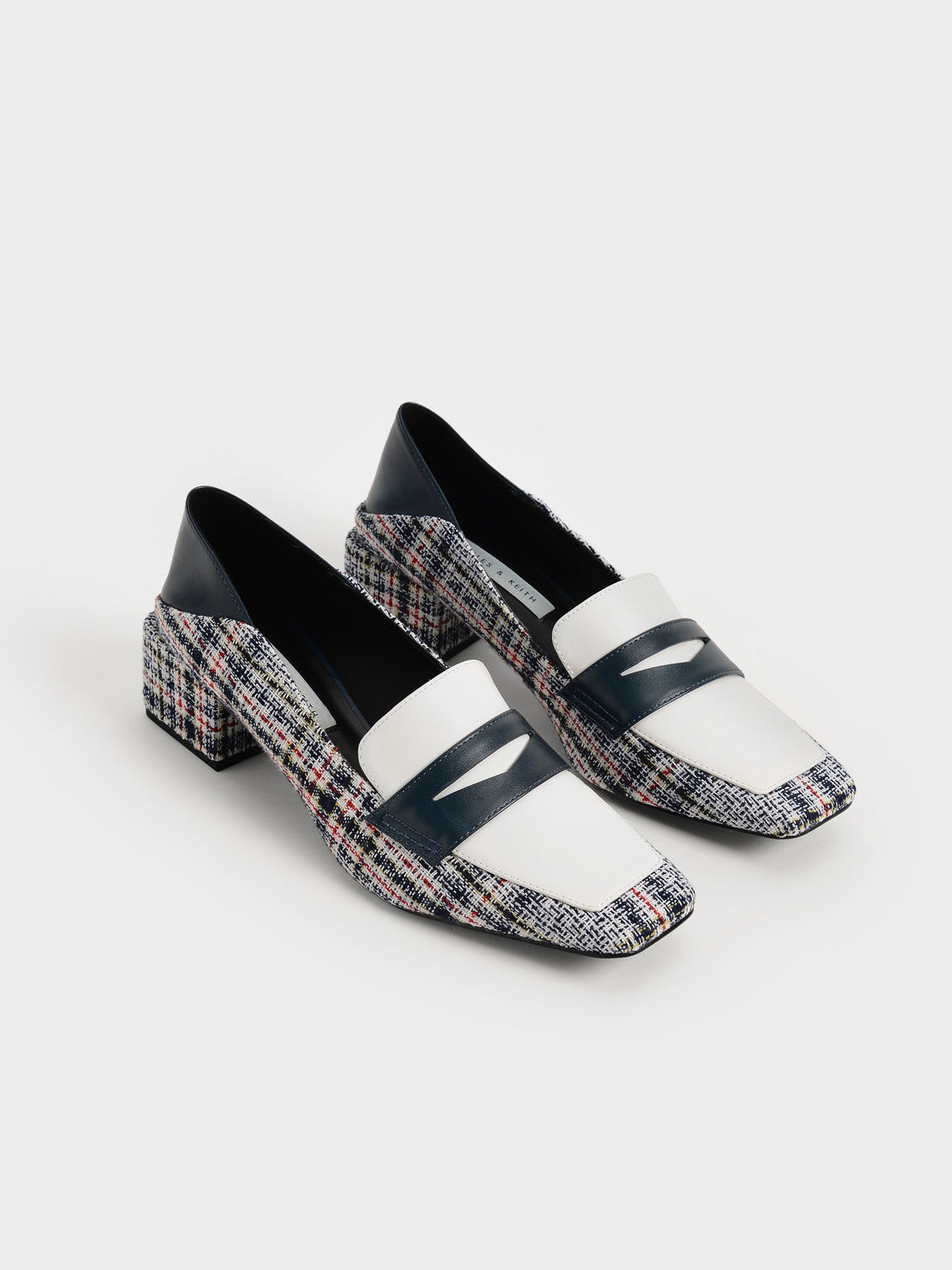 Tweed Block Heel Penny Loafers, Dark Blue, hi-res