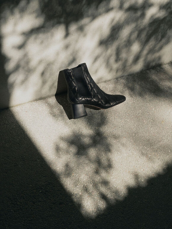 Quilted Leather Chelsea Boots, Black, hi-res