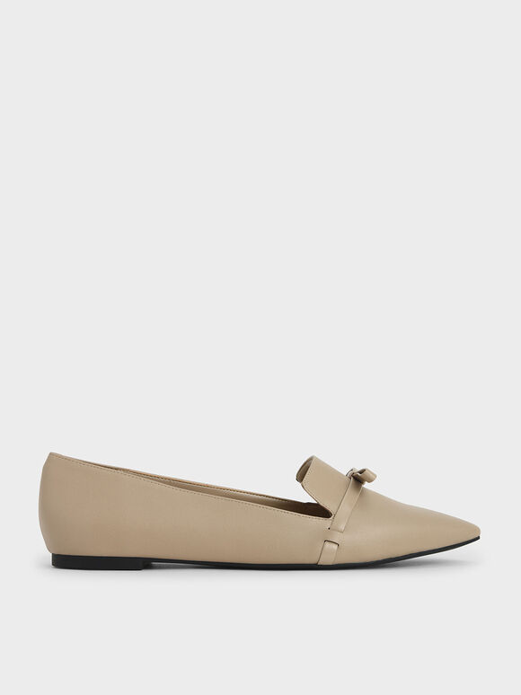 Bow Tie Loafers, Beige, hi-res