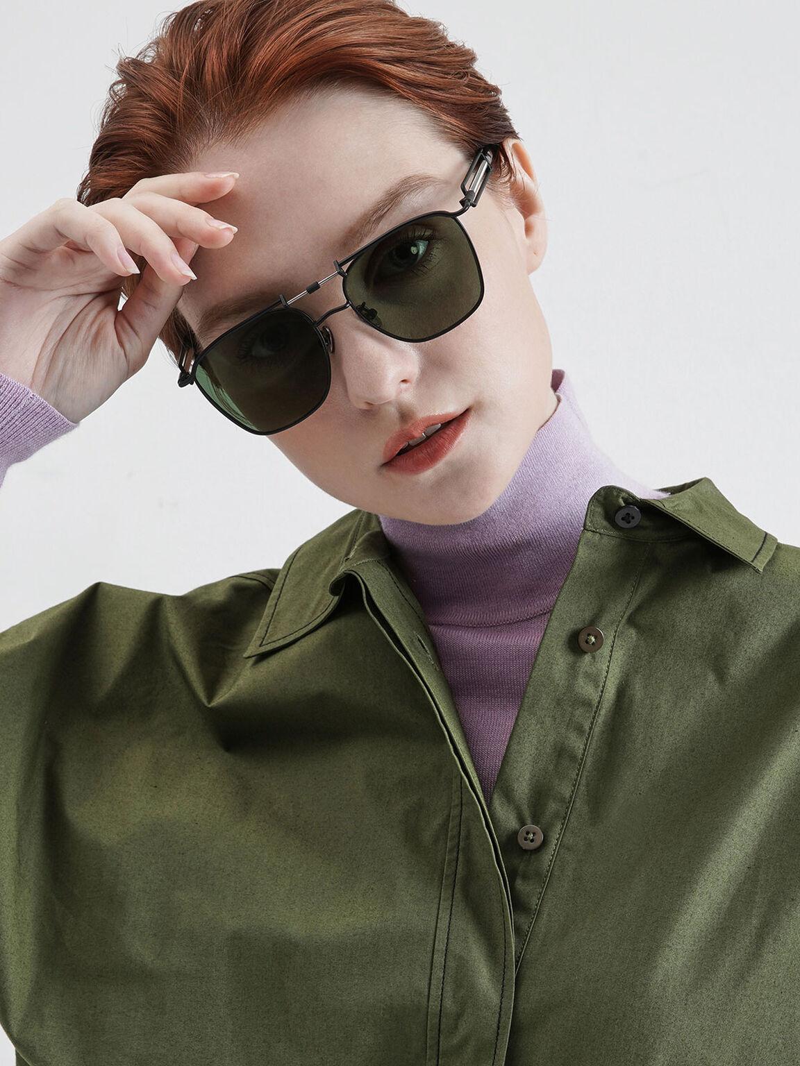 Square Double Bridge Sunglasses, Black, hi-res