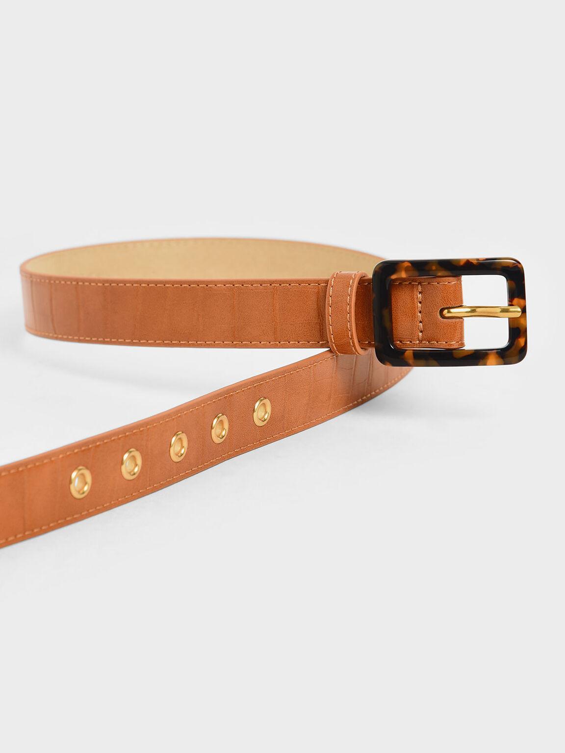 Croc-Effect Mid Waist Belt, Tan, hi-res