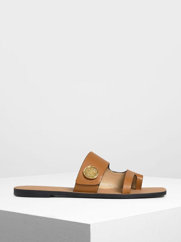 Gold Stud Detail Slide Sandals, Cognac, hi-res