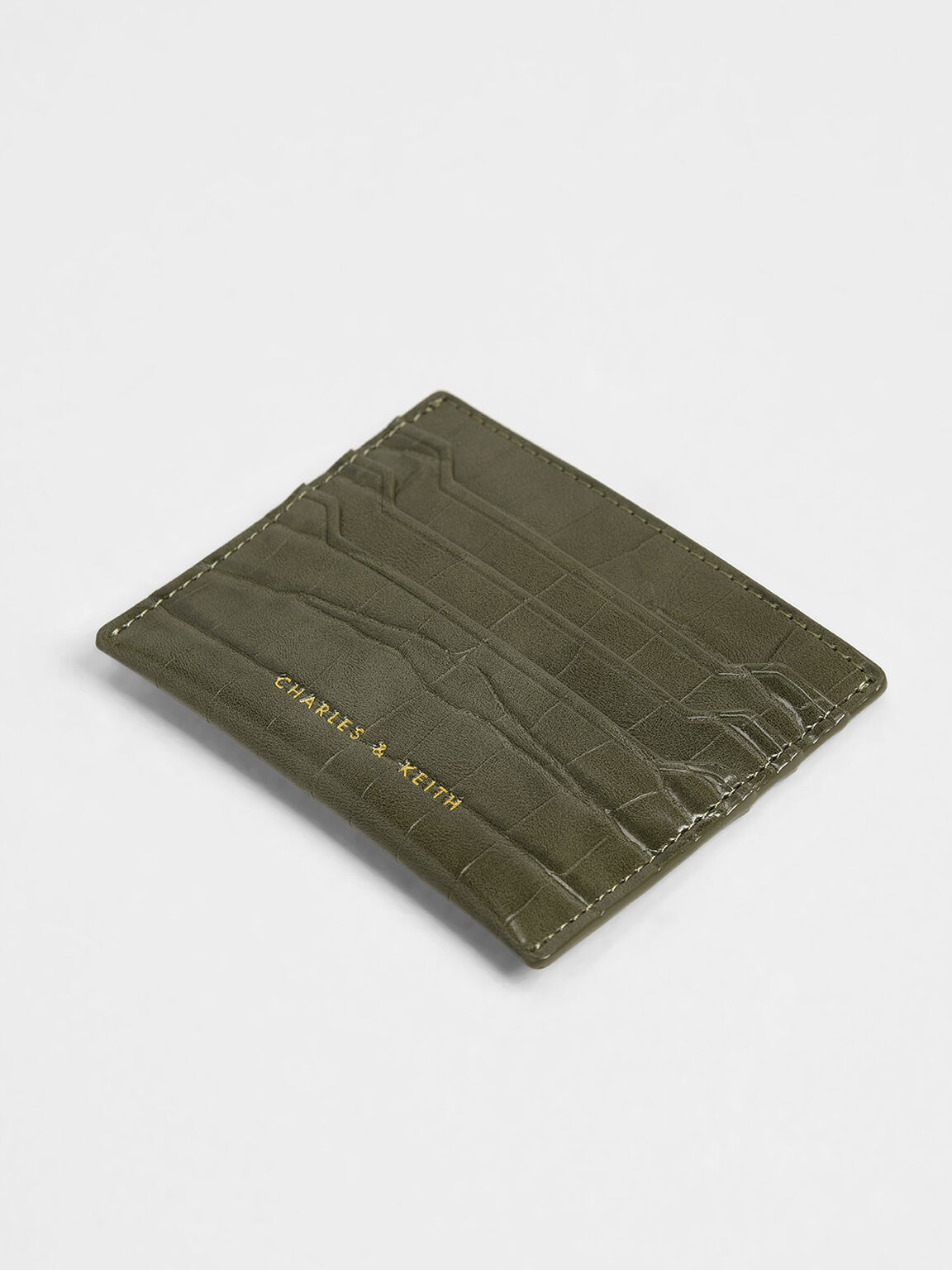 Croc-Effect Card Holder, Olive, hi-res