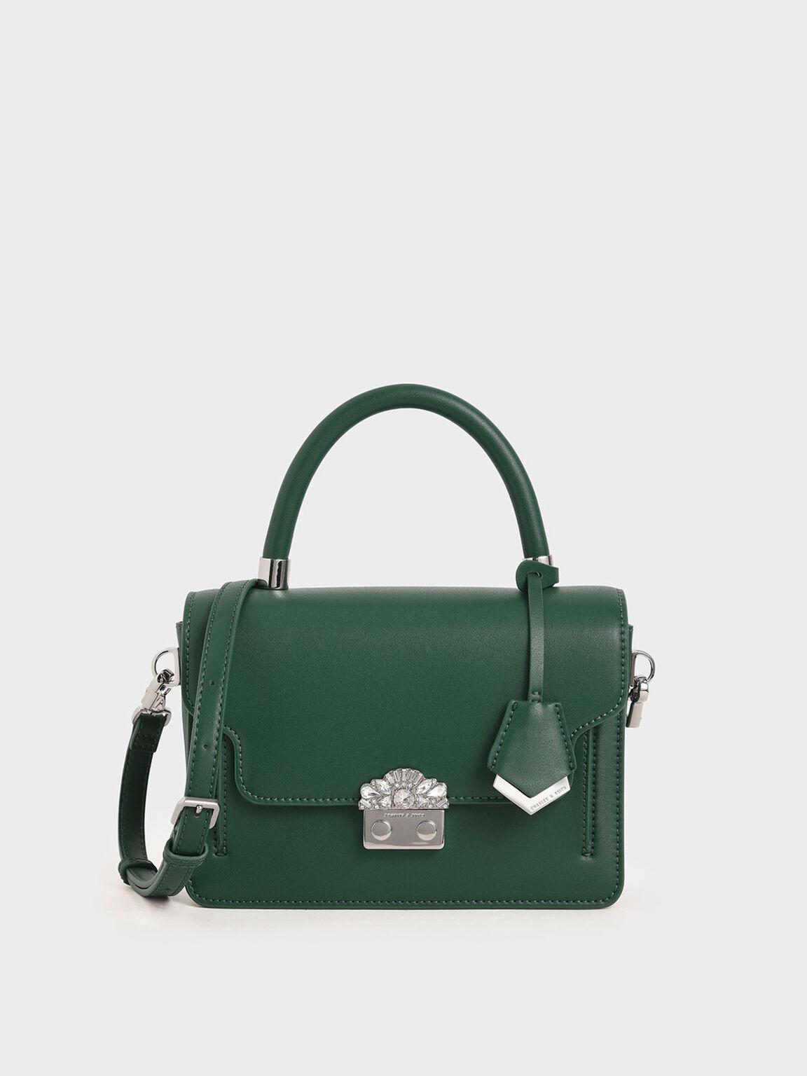 Metal Buckle Top Handle Bag, Dark Green, hi-res