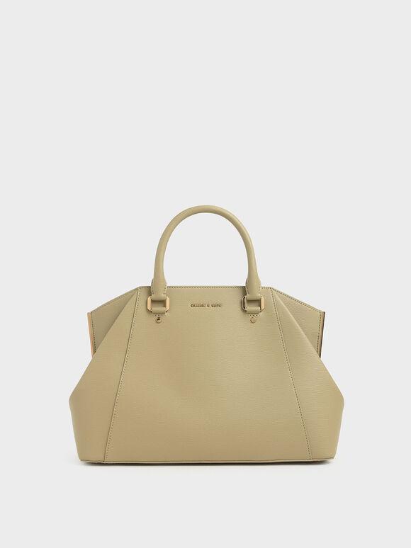 Large Geometric Top Handle Bag, Sand, hi-res