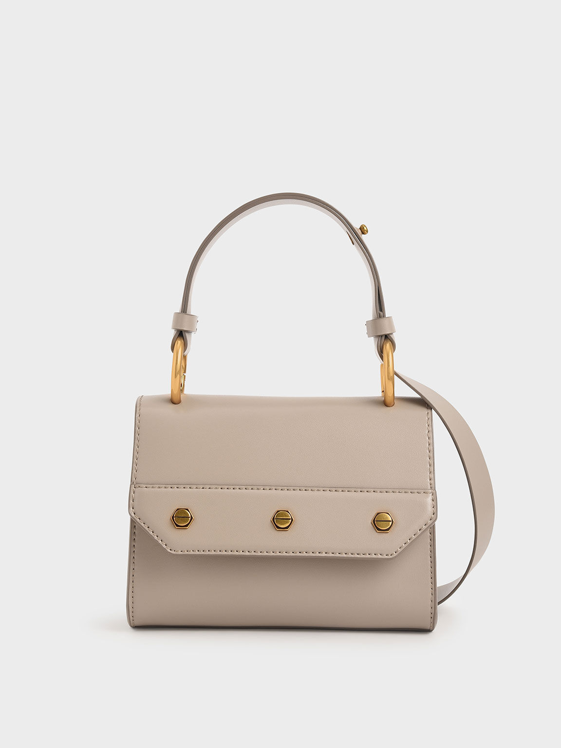 Studded Top Handle Bag, Taupe, hi-res