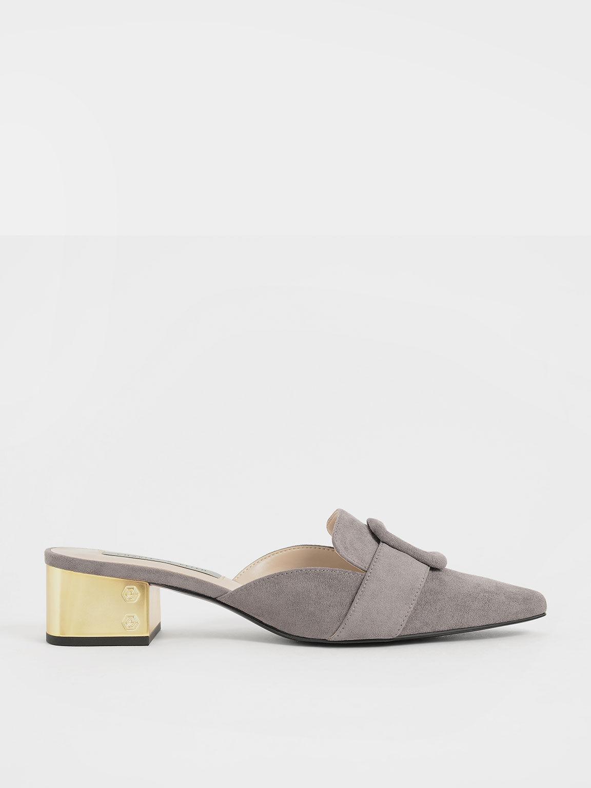 法式方扣穆勒鞋, 灰色, hi-res