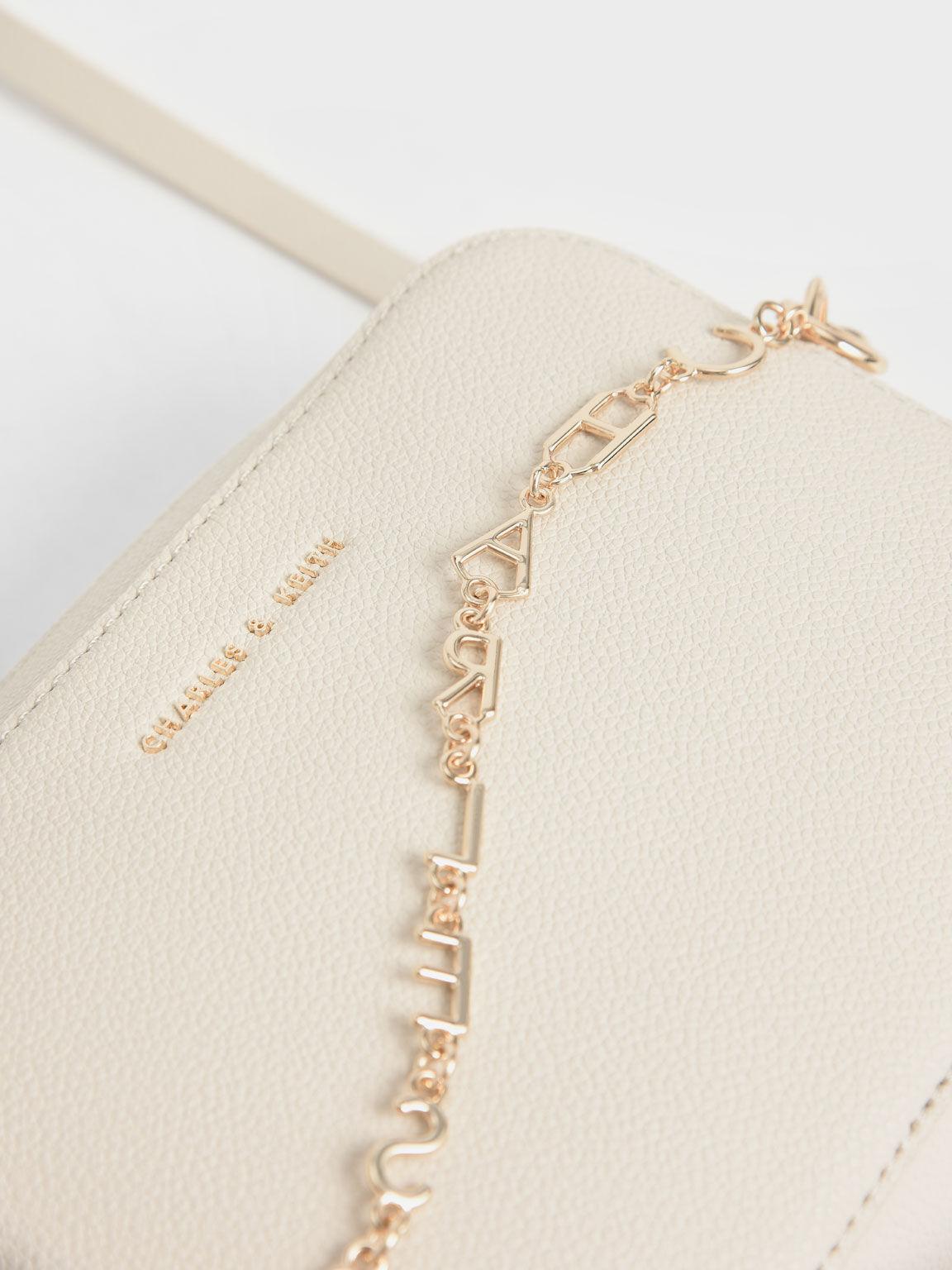 Chain Link Boxy Clutch, Cream, hi-res