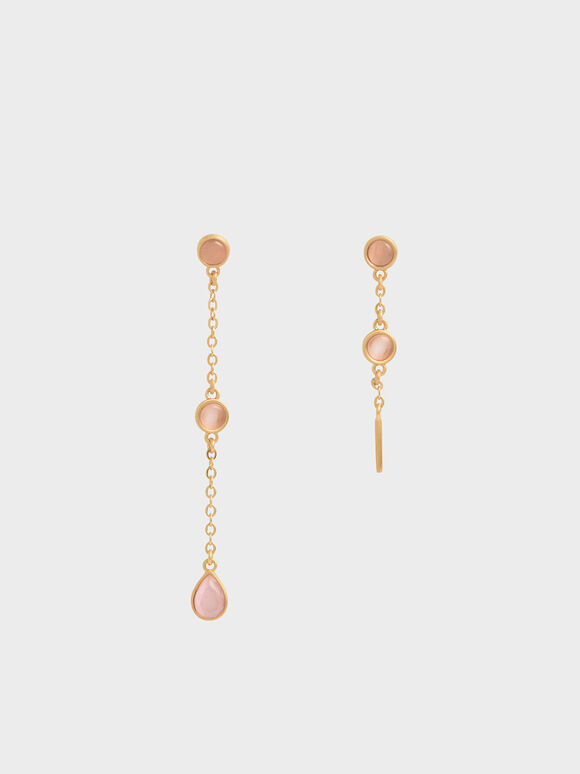 Rose Quartz Mismatched Drop Earrings, Brush Gold, hi-res