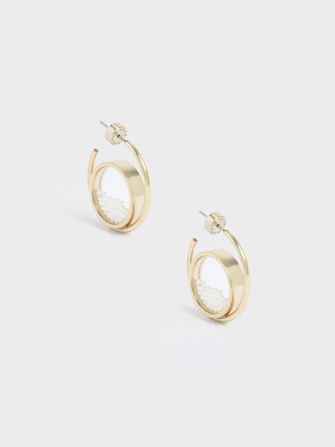 Pearl Finish Stone Floating Locket Hoop Earrings, Pearl, hi-res