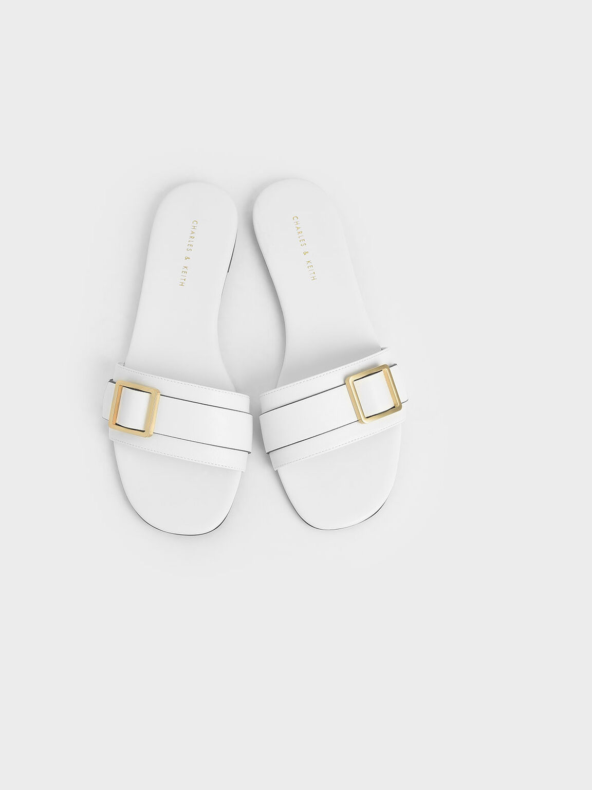 Frame Buckle Slide Sandals, Cream, hi-res