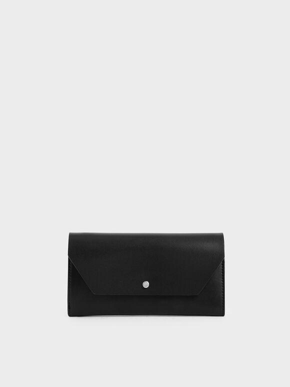 Reversible Front Flap Mini Long Wallet, Black, hi-res