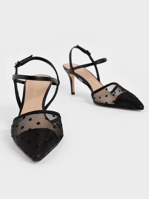 Mesh Ankle Strap Pumps, Black Textured, hi-res