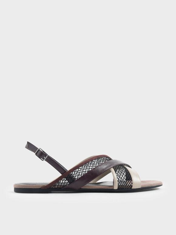 Criss Cross Mesh Slingback Sandals, Multi, hi-res