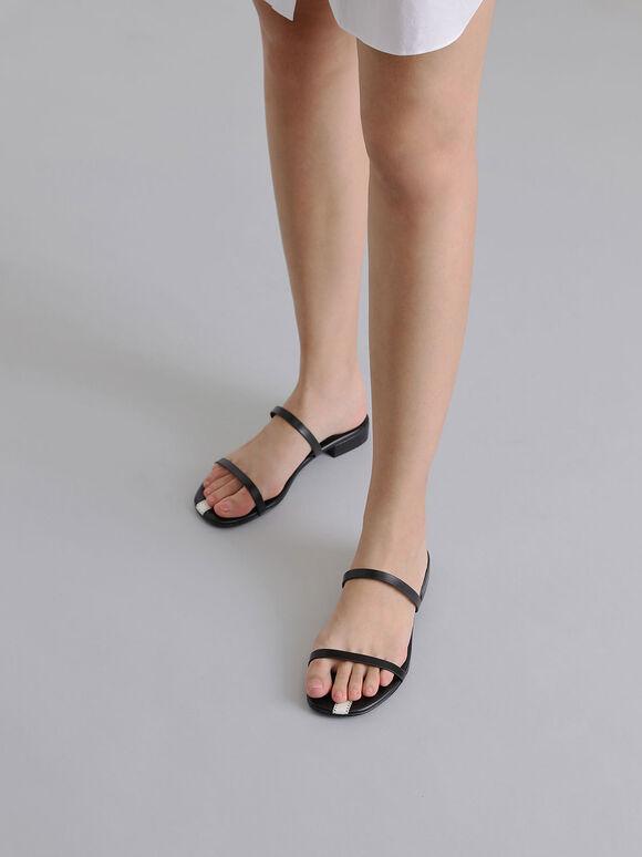 率性細帶拖鞋, 黑色, hi-res
