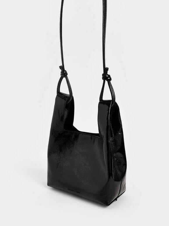 Patent Square Handle Tote Bag, Black, hi-res