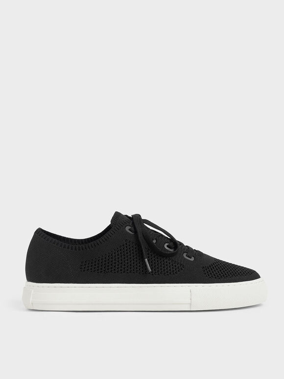 Knitted Lace-Up Sneakers, Black, hi-res