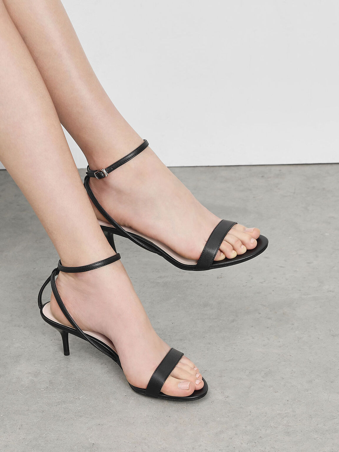 Classic Ankle Strap Sandals, Black, hi-res