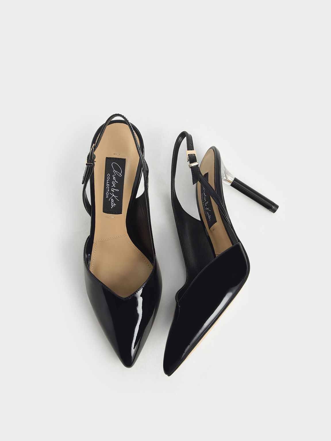 Patent Leather Half D'Orsay Slingback Pumps, Black, hi-res