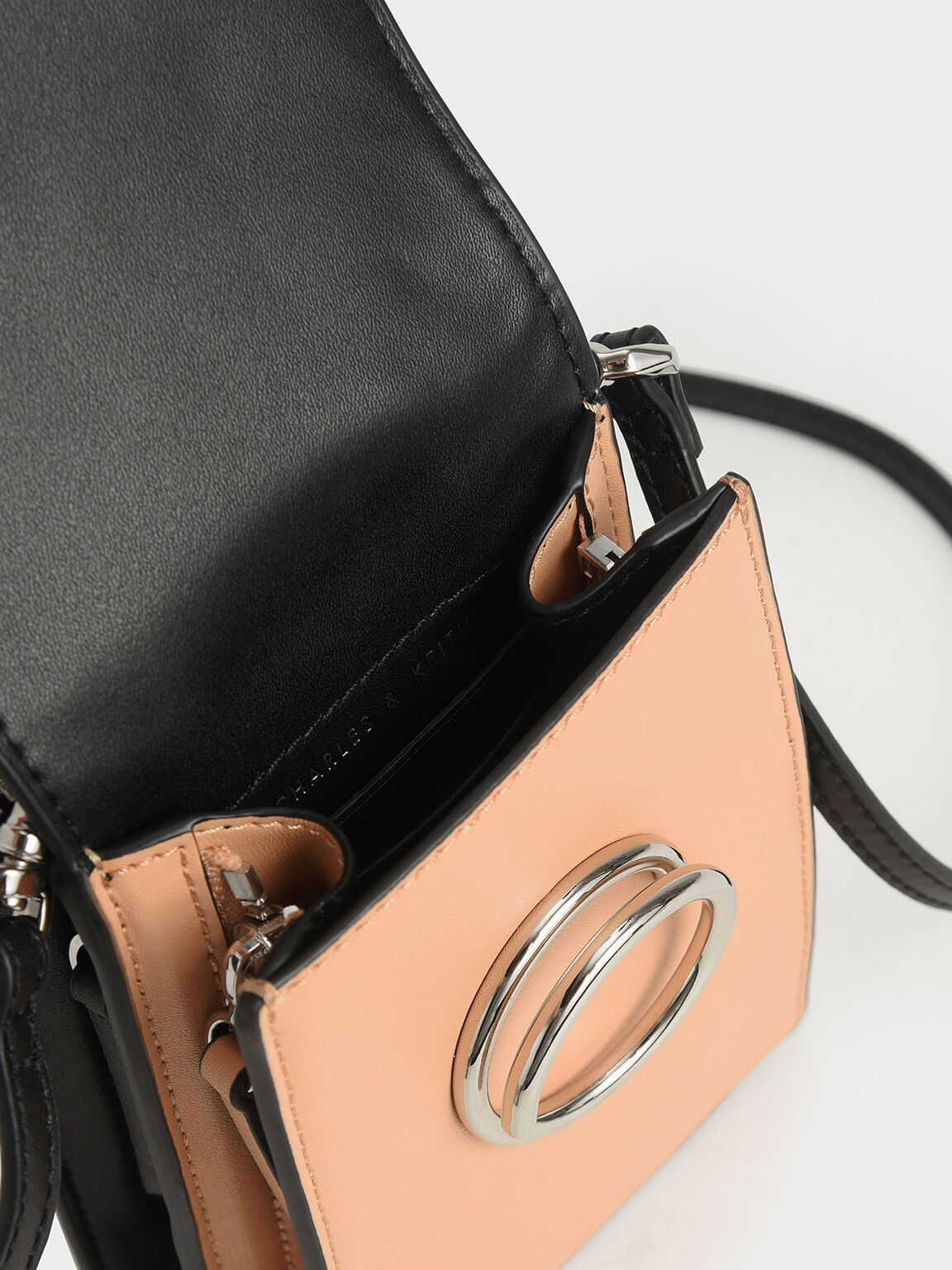 Two-Tone Ring Detail Elongated Bag, Nude, hi-res