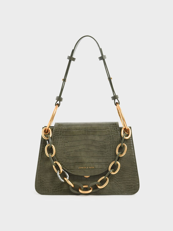 Croc-Effect Chunky Chain Link Shoulder Bag, Olive, hi-res