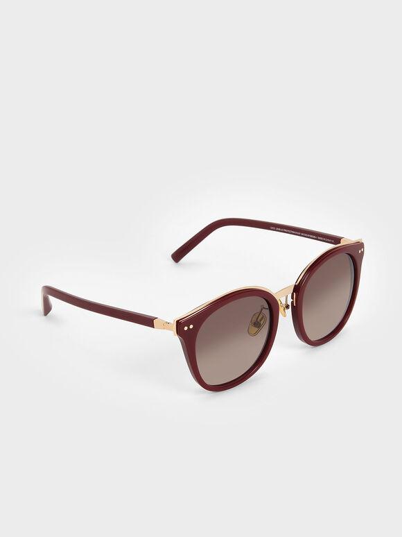 Acetate Frame Wayfarer Sunglasses, Burgundy, hi-res