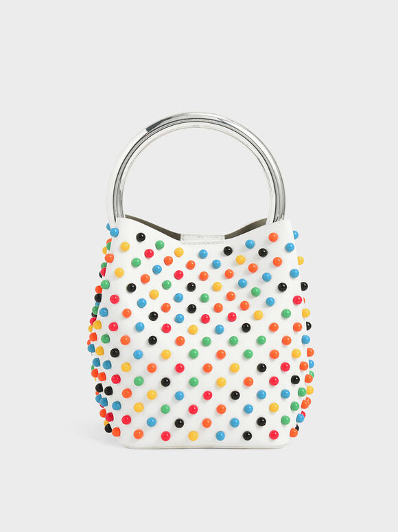 Embellished Bucket Bag, White, hi-res