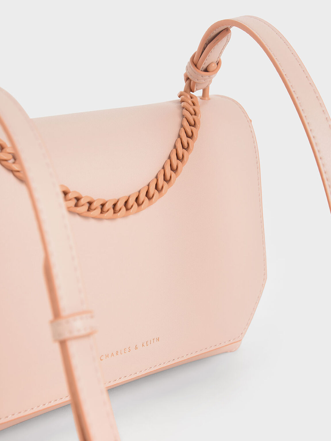 Studded Chain Link Shoulder Bag, Pink, hi-res