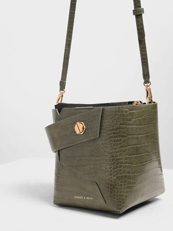 Croc-Effect Wristlet Handle Bucket Bag, Olive
