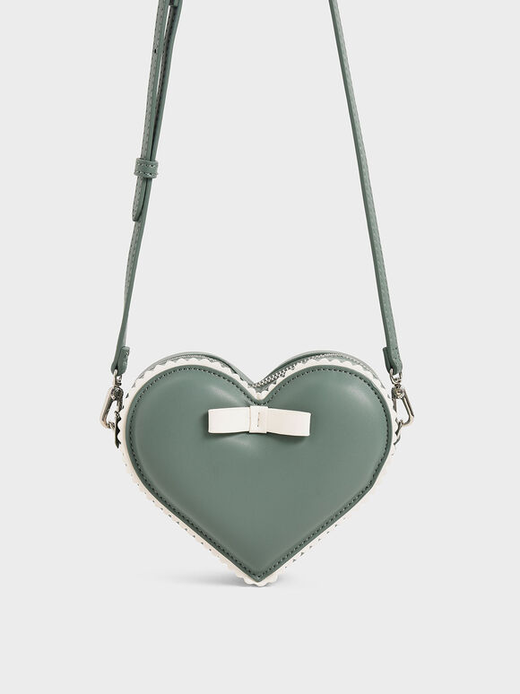 Heart-Shaped Crossbody Bag, Green, hi-res