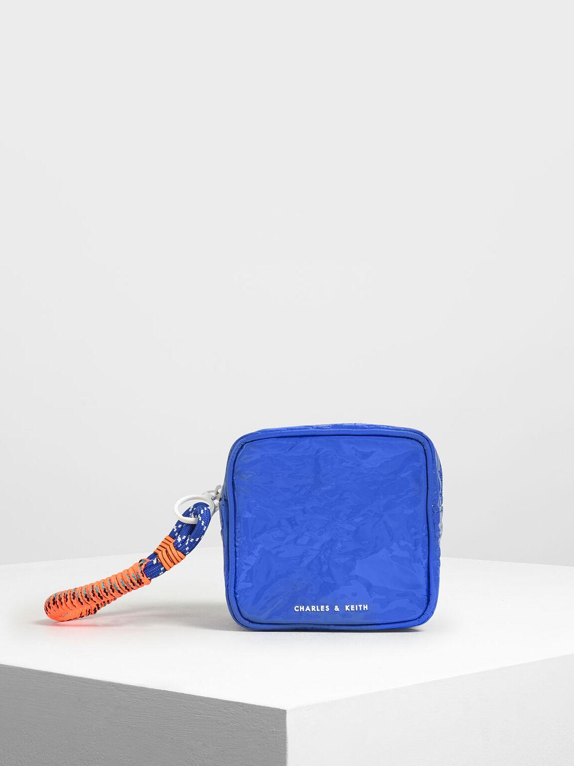 皺褶感拉鍊短夾, 藍色, hi-res