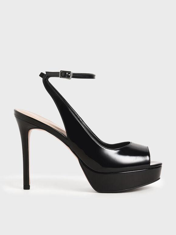 Patent Ankle Strap Platform Heels, Black, hi-res