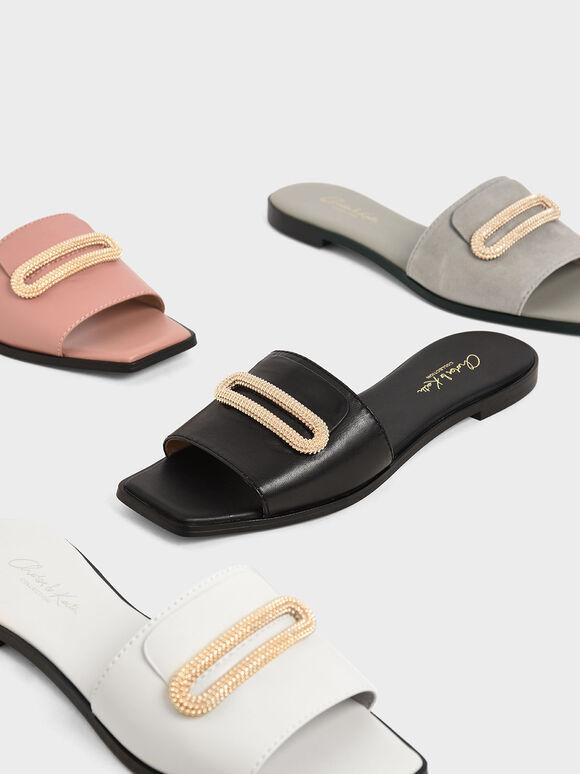 Leather Metallic Accent Slide Sandals, Black, hi-res