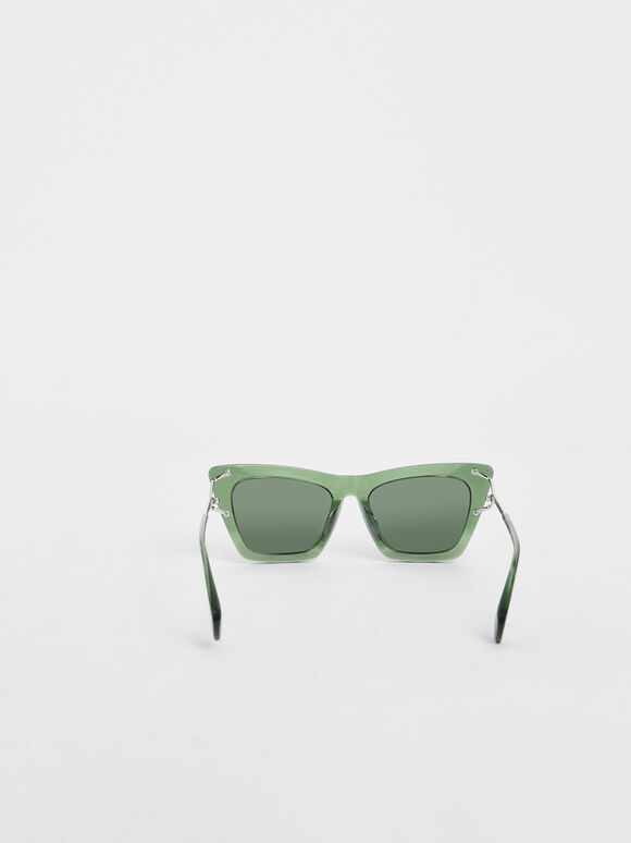 Acetate Butterfly Sunglasses, Green, hi-res