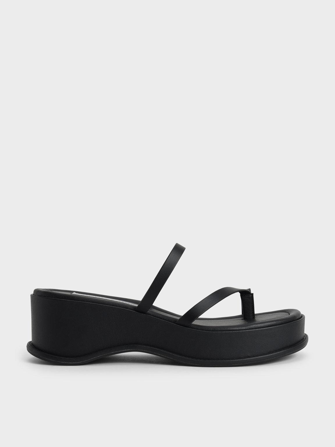 Toe Loop Flatform Sandals, Black, hi-res