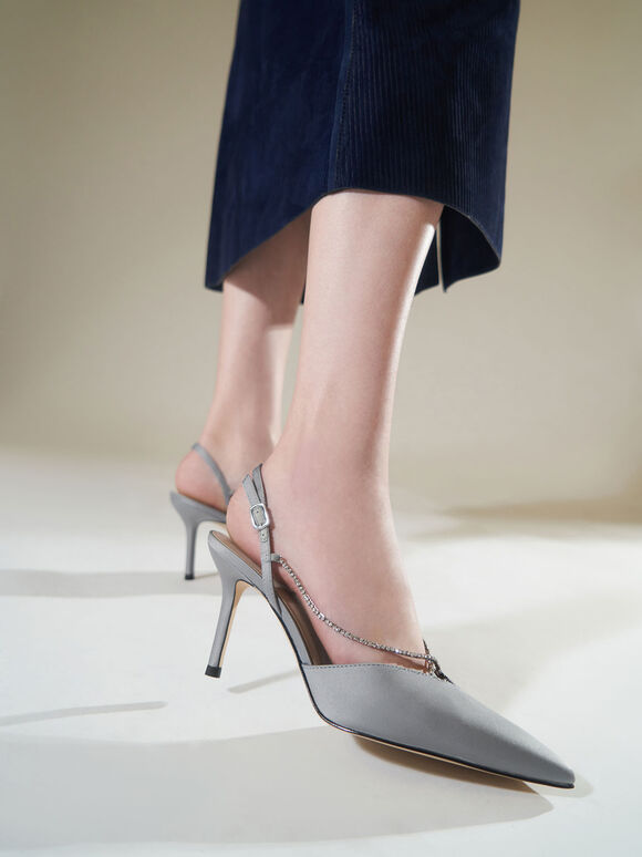 Crystal-Embellished Slingback Pumps, Light Blue, hi-res