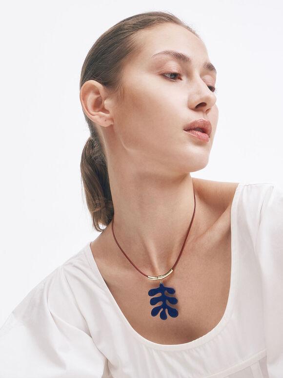 Acetate Charm Necklace, Blue, hi-res