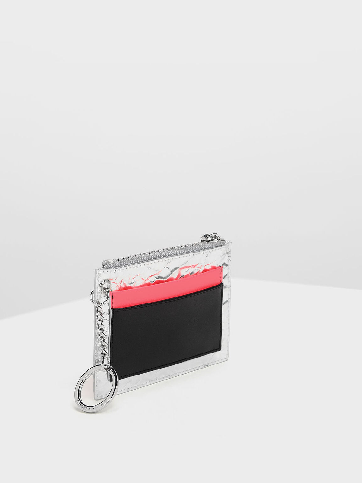 Chain Link Card Holder, Silver, hi-res