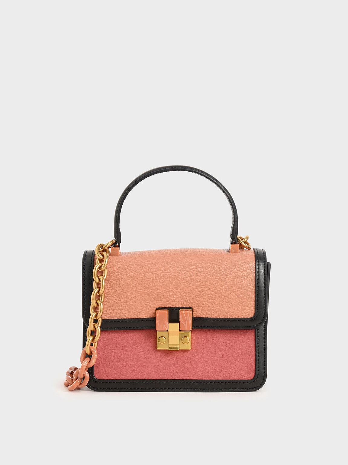 Small Chunky Chain Strap Bag, Peach, hi-res