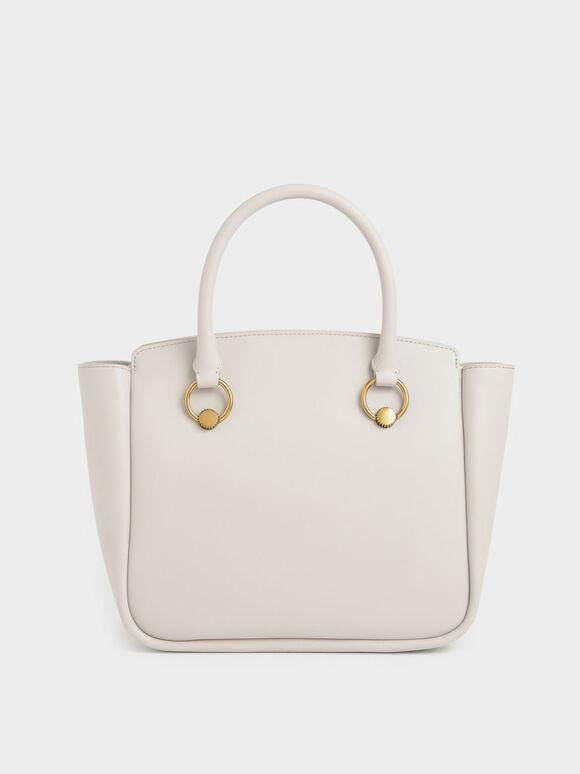 Ring Detail Large Hobo Bag, Ivory, hi-res