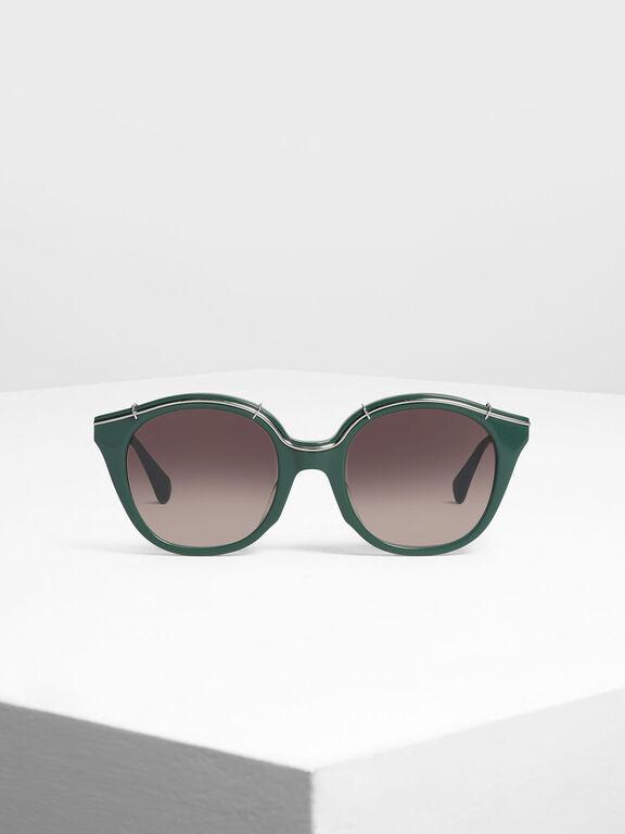 Metallic Accent Cat Eye Shades, Green, hi-res