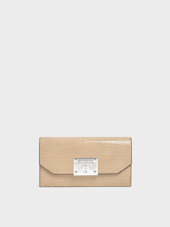 Croc-Effect Push Lock Flap Wallet, Beige, hi-res