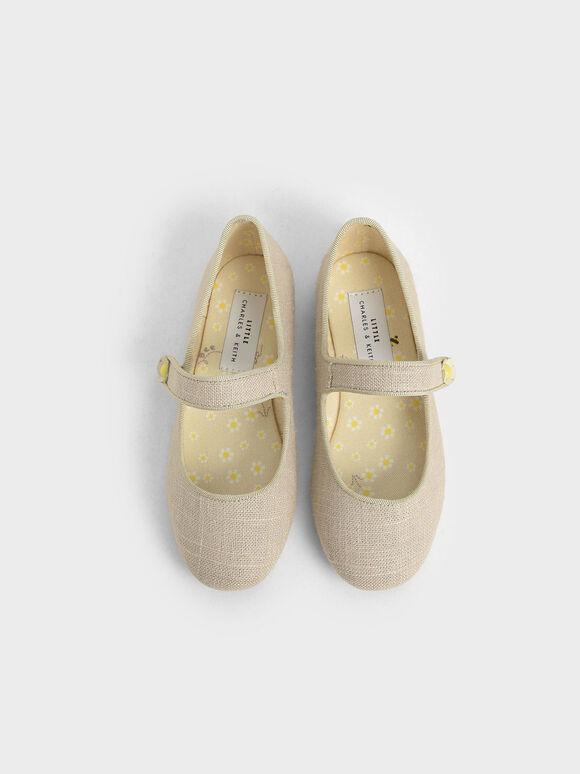 Girls' Cotton Mary Jane Ballerinas, Beige, hi-res
