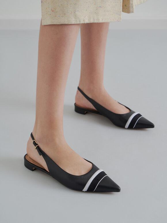 Two-Tone Leather Slingback Flats, Black, hi-res