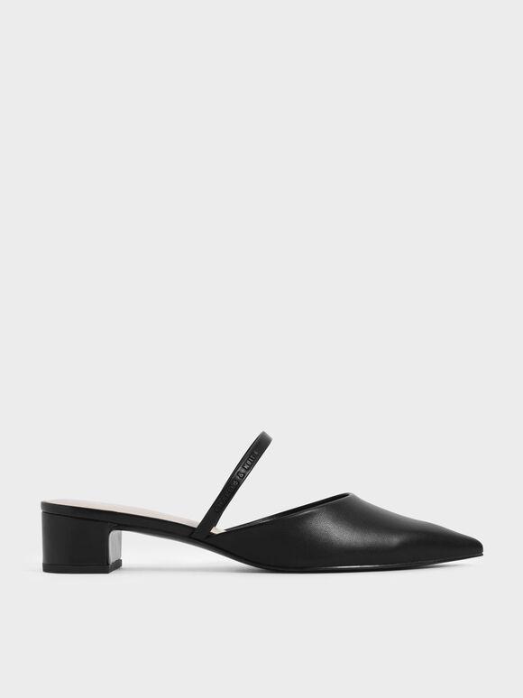 素面穆勒粗跟鞋, 黑色, hi-res